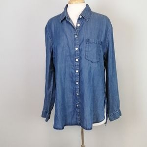 Love Stitch Marice Button Tencel Top Blue Size S